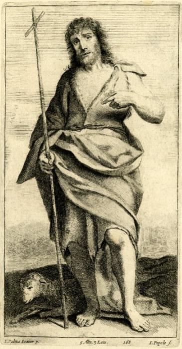 Jan Popels radering efter Palma Vecchios Johannes Døber (o. 1656-60)