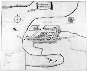 Kort over Bogense efter Resens Atlas 1677. Man ser kirkens udsatte placering ved vandet.