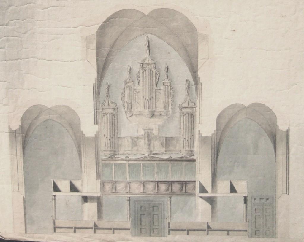J. P. Jacobsens forslag til opførelse af pulpiturer i sideskibene, 1831. (LA Odense, pergamentsamlingen, topografiske samlinger).