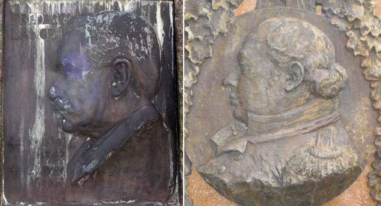 Fritz Lange og byfoged Lunds relieffer