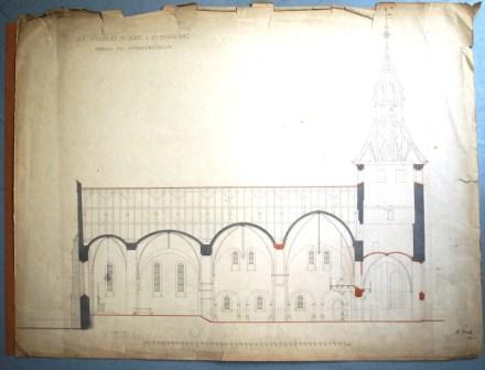 Storcks forslag til restaurering 1887. Det, der er tegnet med rødt, er de områder, hvor Storck regnede med at skulle udskifte murværk.